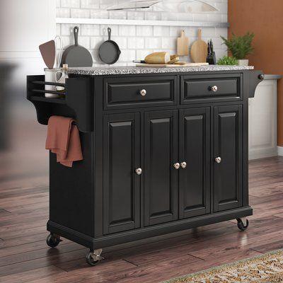 Three Posts Hedon Kitchen Cart With Granite Top Base Finish Black Top Finish Black Kitchen Cart Granite Tops Kitchen Island With Granite Top