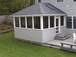 An Example Of The Hip Roof With Skylight But I Want The Screens To Be Much Bigger Longer Less Siding Patio Enclosures Hip Roof Screened Porch