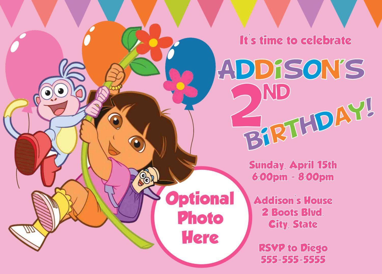 Free Template Dora The Explorer Birthday Party Invitations