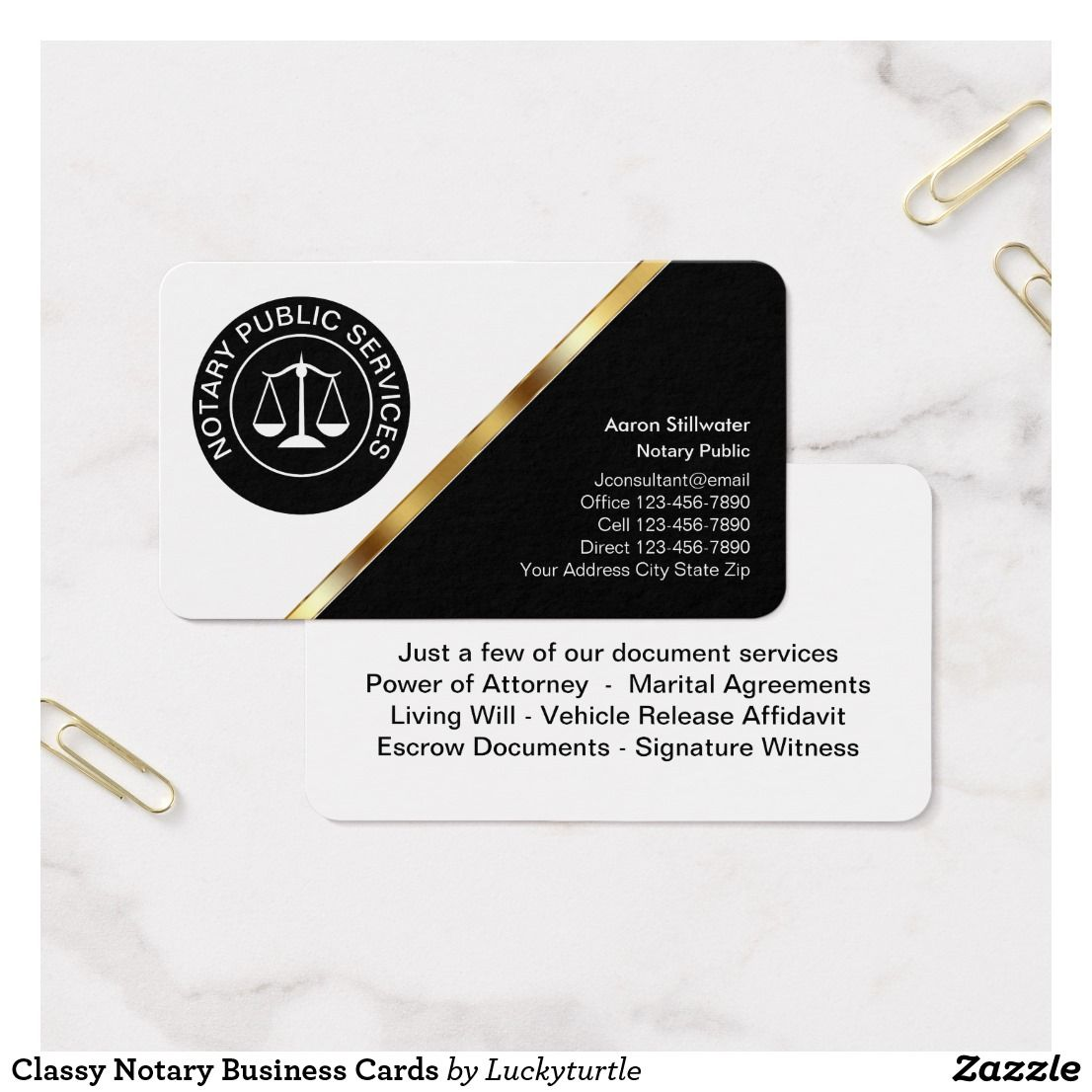 Classy notary business cards business cards
