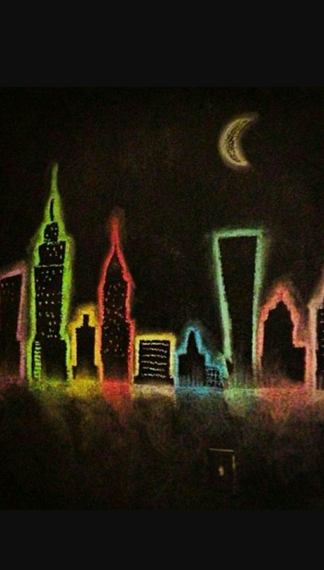 Chalkboard City Wall Chalkboard drawings, City drawing
