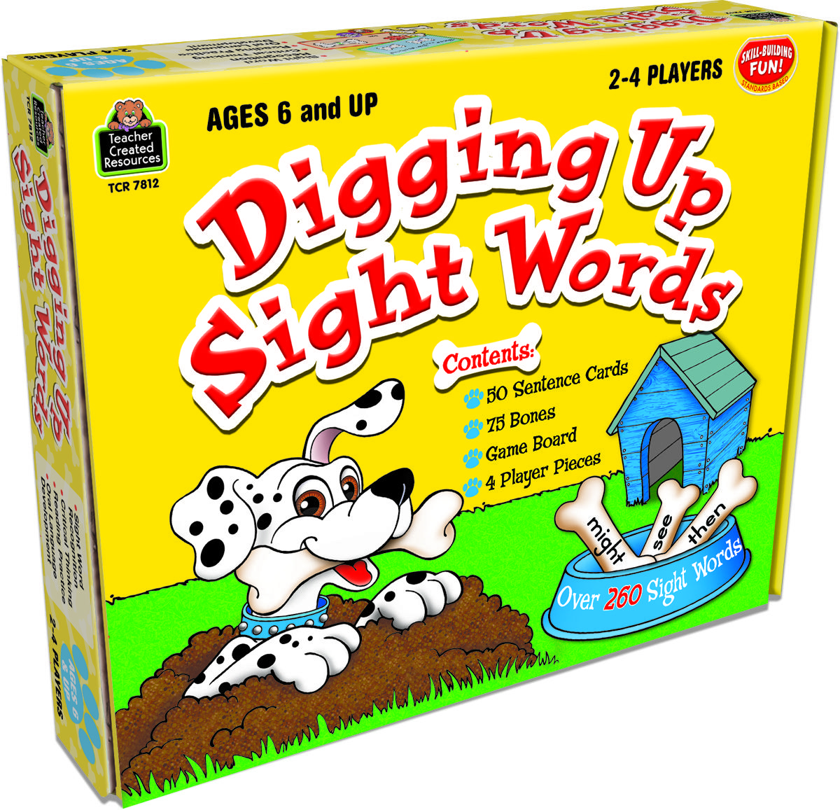 TCR's Digging Up Sight Words game for grades 1 and 2 helps children learn more than 260 sight words. Each player draws a sentence card, reads it aloud, and then chooses a sight word to complete the sentence. With a correct answer, the player collects the number of bones indicated on the card and moves ahead. The most bones wins! teachercreated.com