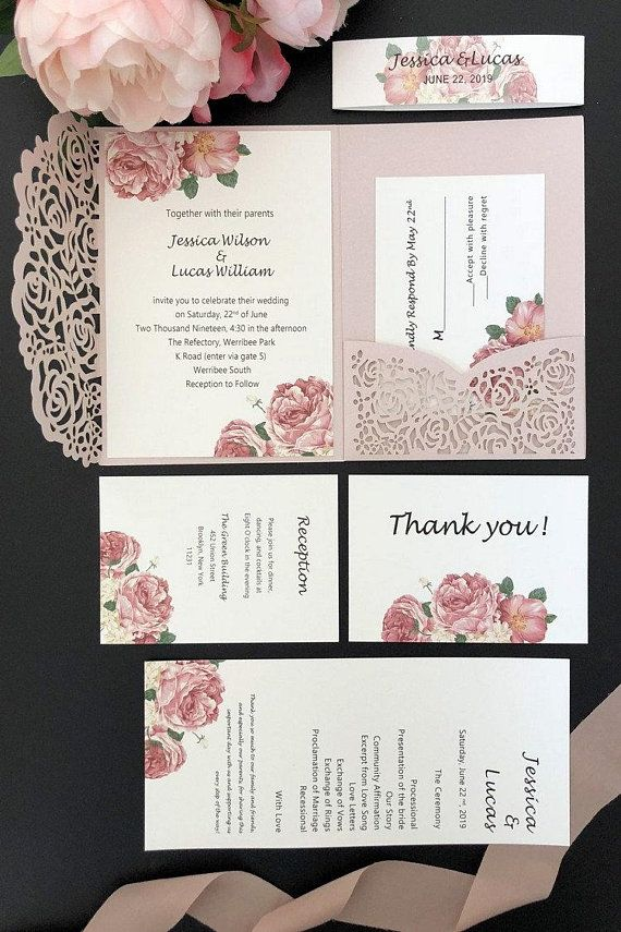 Dusty Rose Floral Wedding Invitations Laser Cut with FREE RSVP Cards