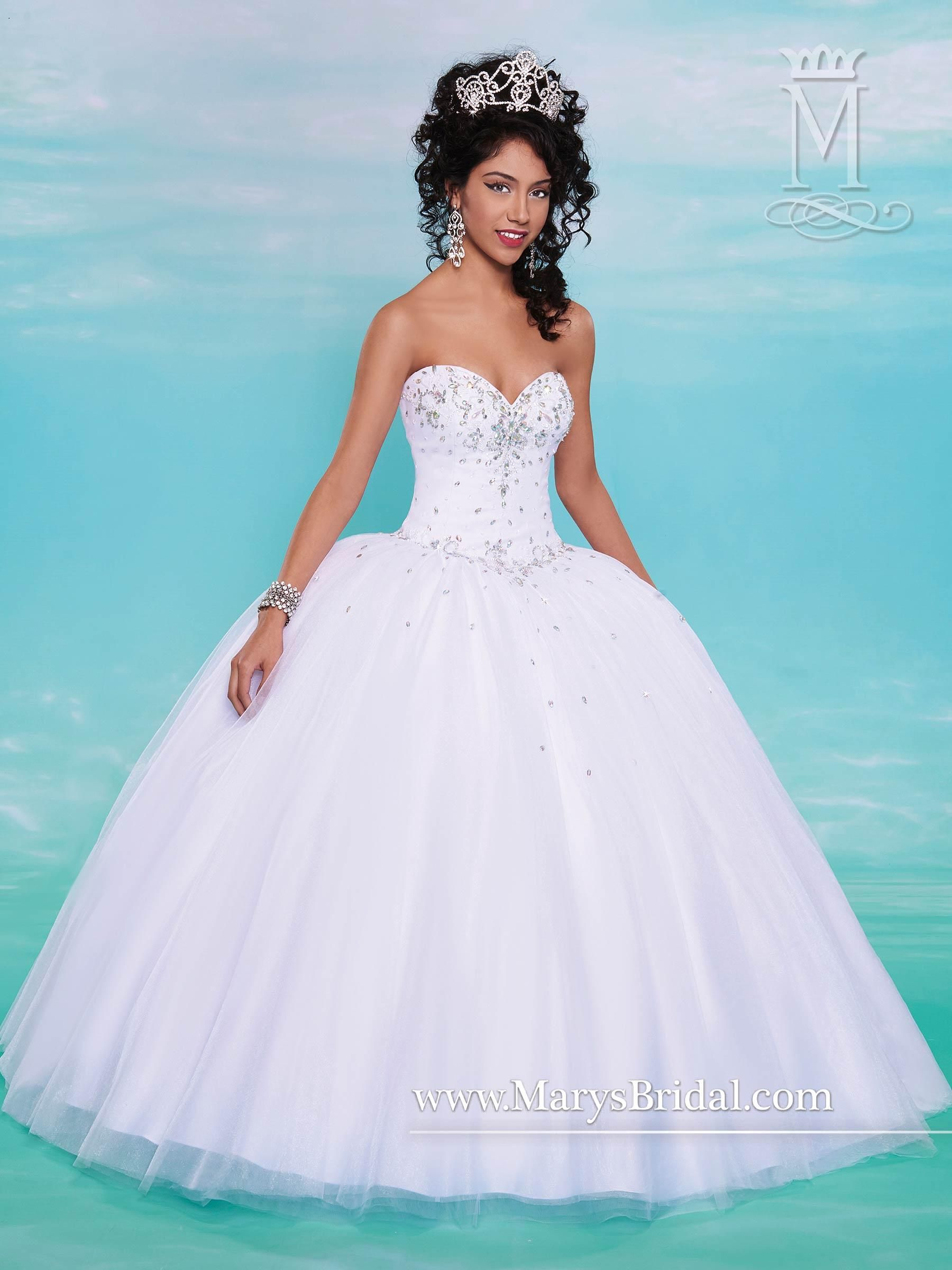 Mary's White Quinceanera Dresses 2015 Fall Sweetheart Neck ...
