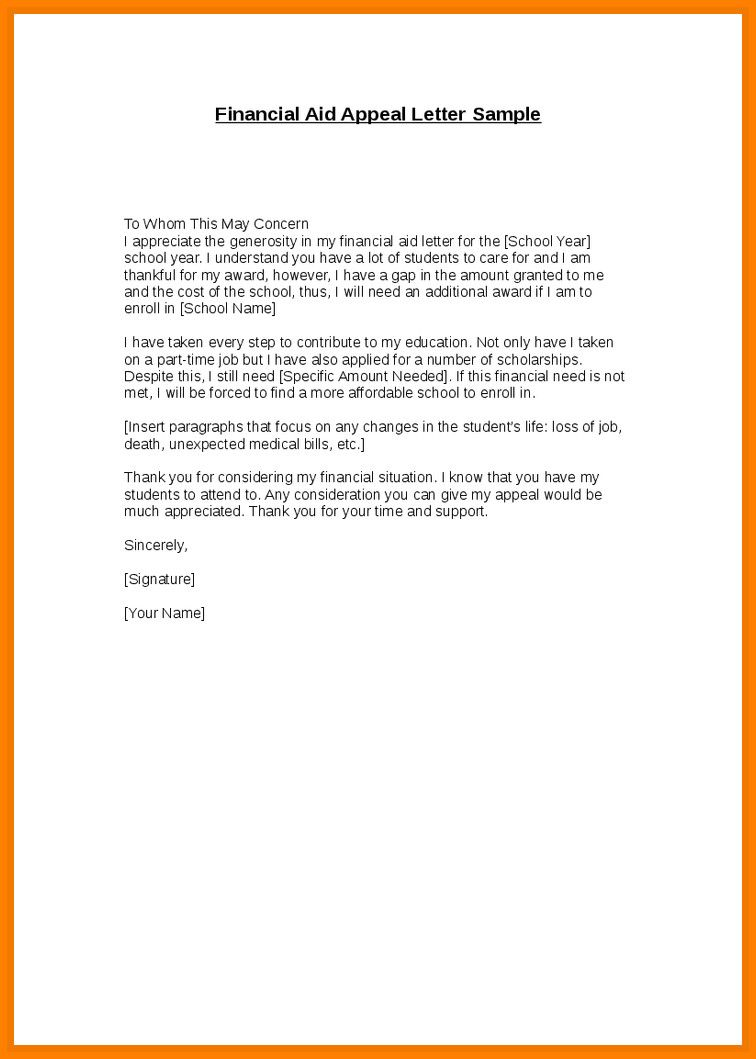 Financial Aid Appeals Letter Example New 10 Writing An Appeal Letter For Financial Aid Financial Aid Lettering Letter Templates