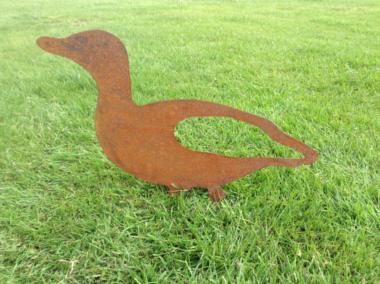 Rusty Duck Metal Garden Art / Metal Duck Silhouette / Garden Decor ...
