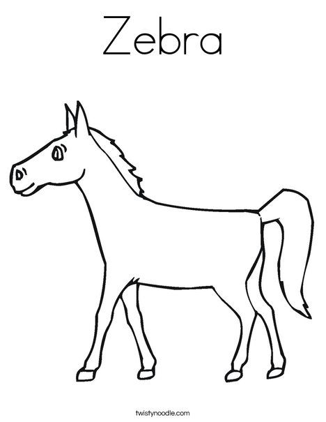 Zebra Coloring Page - Tracing - Twisty Noodle |