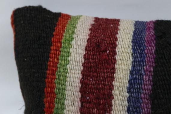 Turkish Kilim Pillow,8x16 Natural Pillow,Lumbar Pillow Covers, Black Pillow, Striped Pillow, Traditi