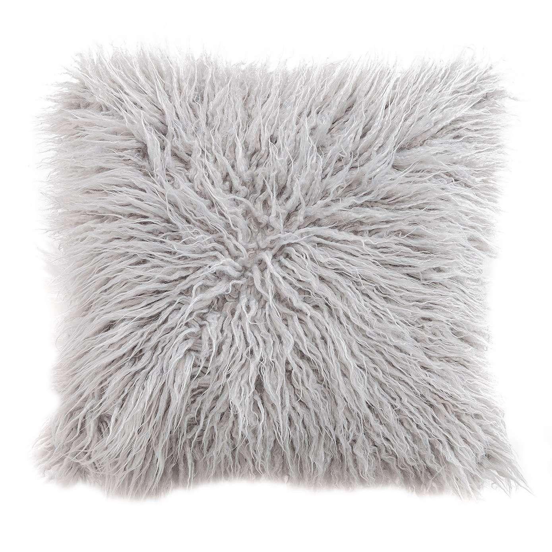 Dunelm Durable Grey Mongolian Faux Fur Cushion