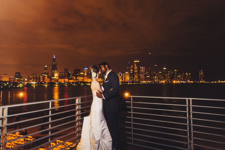 Chicago skyline; Adler wedding Space wedding