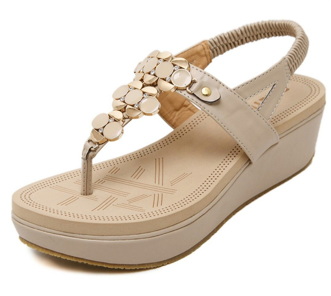 b5007d28ea54 Beauty Womens Bohemian Platform Beaded Gladiator Thong Flat Sandals Apricot  9 M US -- Click image for more details.