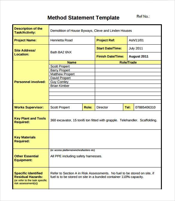 14+ Method Statement Templates