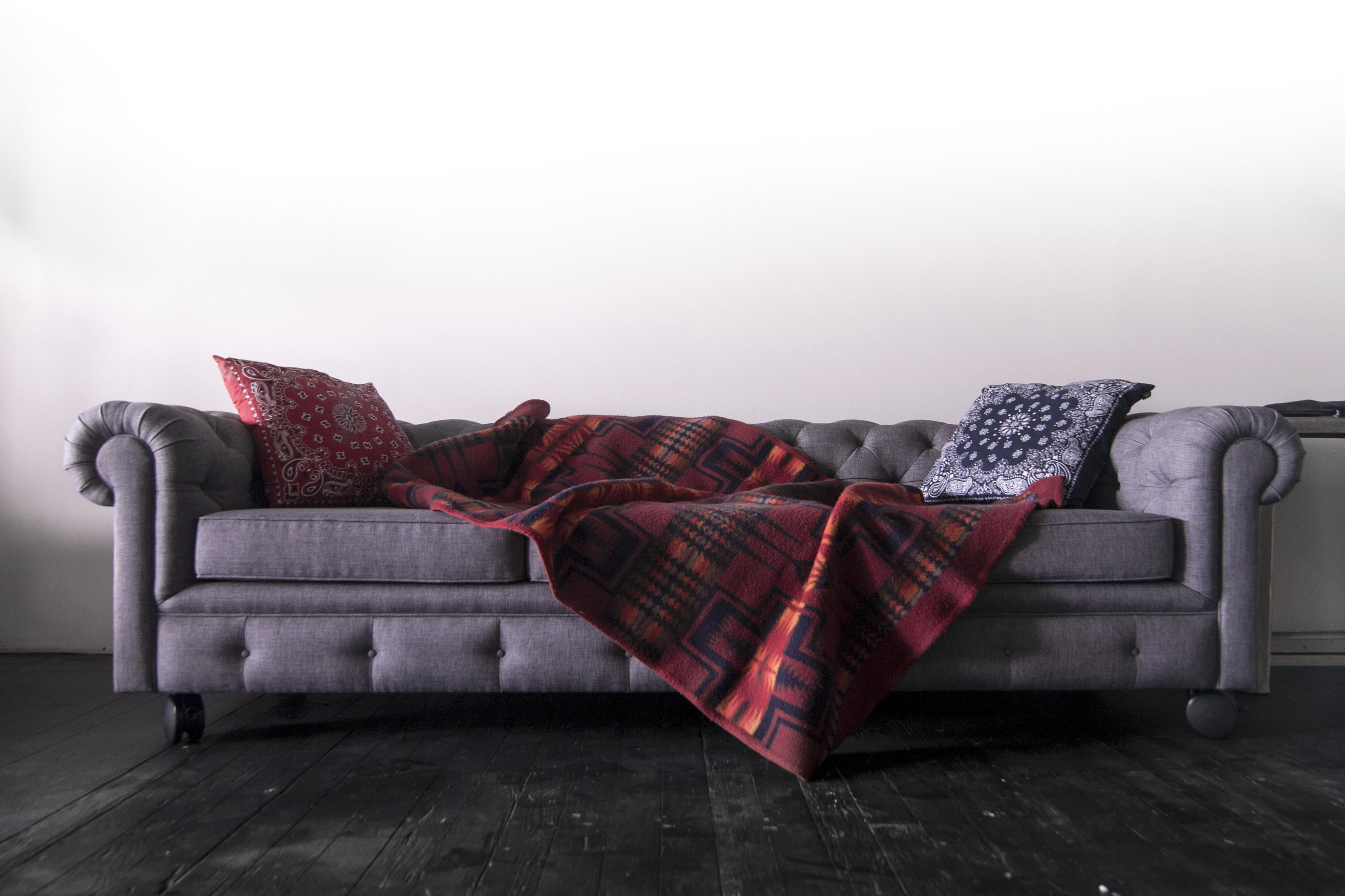 Heather Grey Couch + Vintage Pendleton Blanket  752db2875