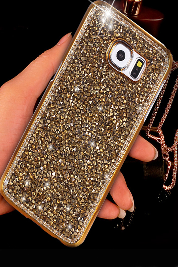 Golden Crystal Samsung Galaxy S6 Edge Bling Phone Case Cover We Can Design This Crystal Bling Cases For Samsung Galaxy S3 S4 S5 Ga Galaxis Handy