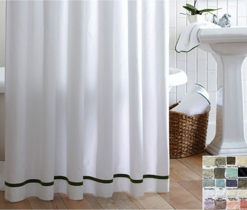 Linen Shower Curtain With Stripes Accent Pick Your Color