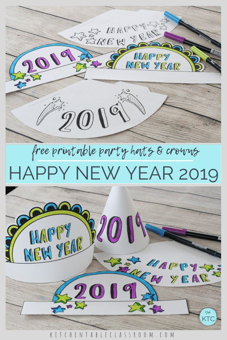 New Year's Eve Party Hats-Easy New Year's crafts for kids - The Kitchen Table Classroom
