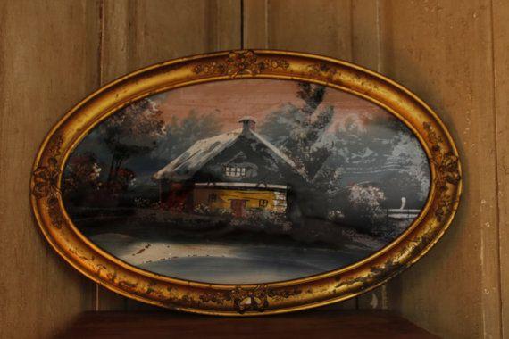 SALE Antique Framed Painting Reverse Painting by VandyleeVintage