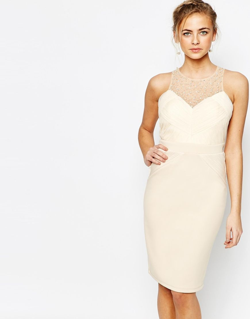 Little+Mistress+Embellished+Pencil+Dress+with+Pleated+Mesh | Little ...