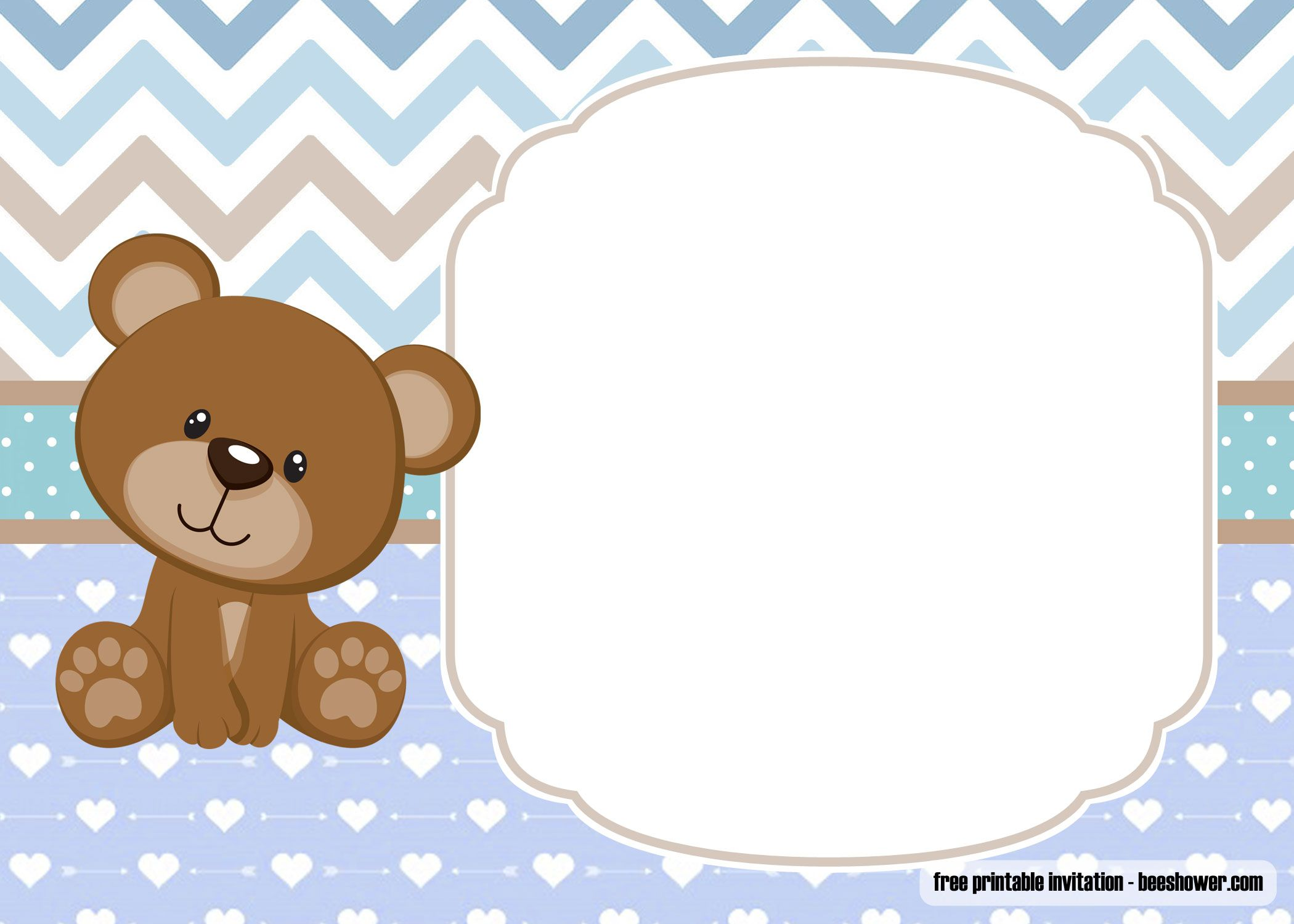 Free Printable Teddy Bear Baby Shower Invitations Template Free