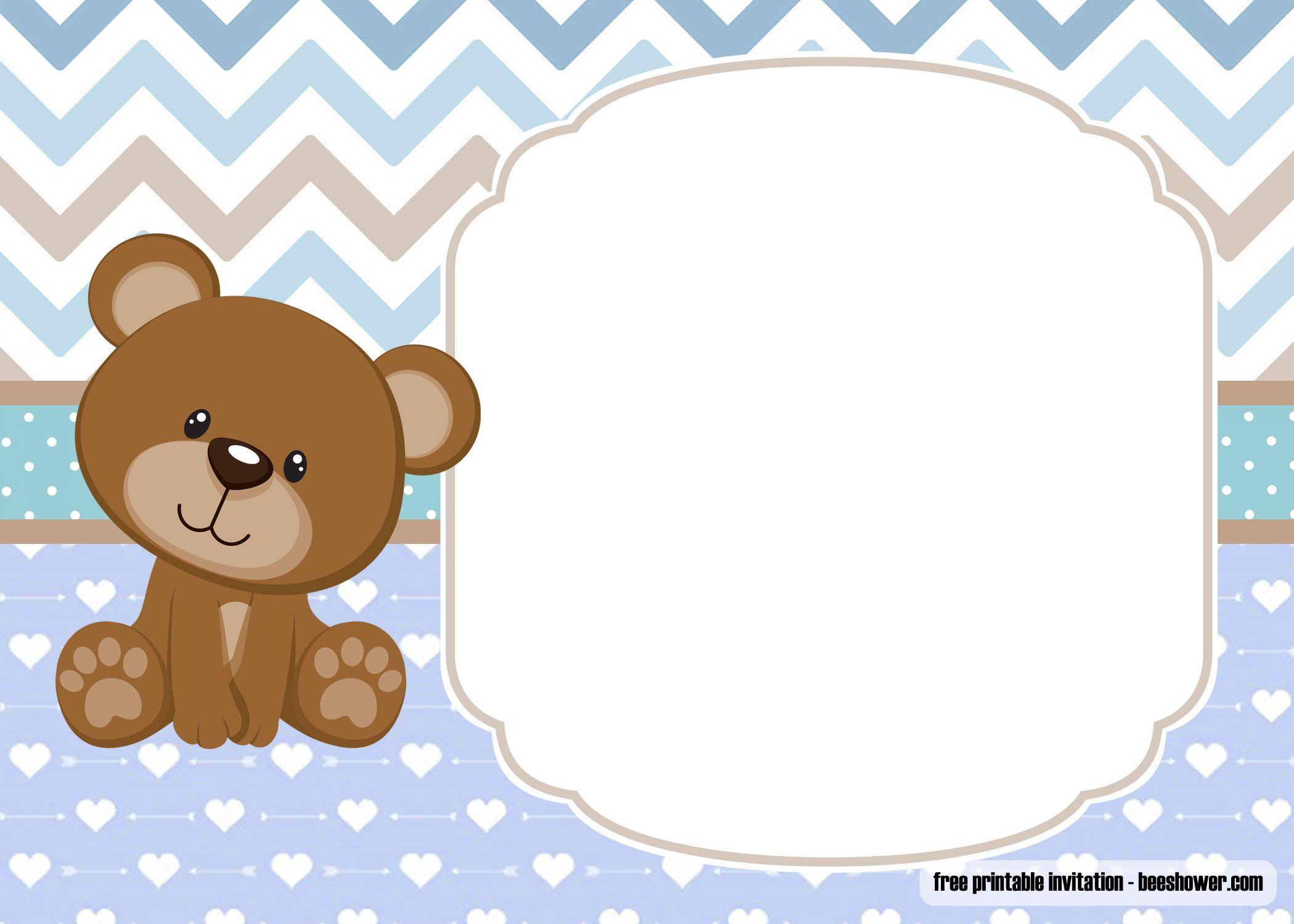 Free Printable Teddy Bear Baby Shower Invitations Template Birthday Invitation Templates Bagvania