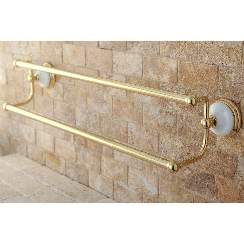 Bathroom Accessory Polished Brass 24 Double Towel Bar Dual Towel