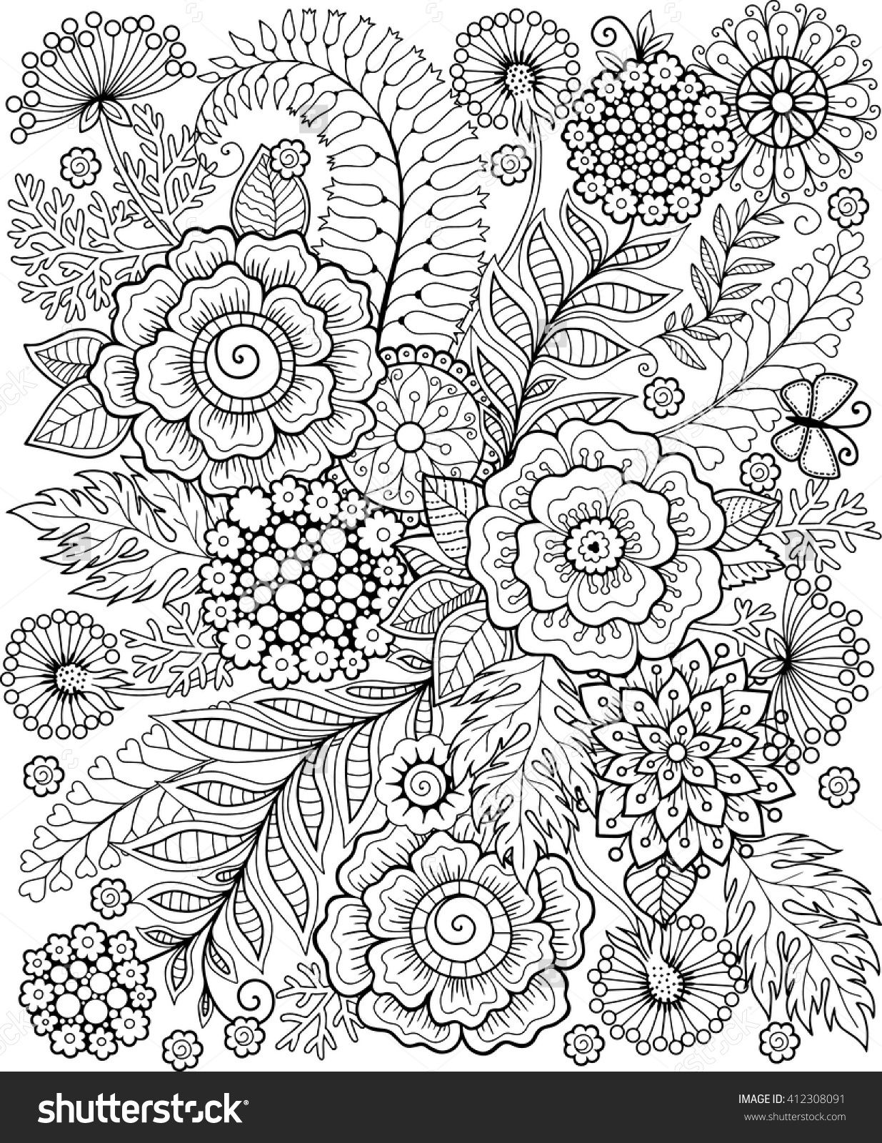 Coloring Book For Adults For Meditation And Relax Decorative Wild Flowers And Coloring Books Coloring Pages Flower Coloring Pages