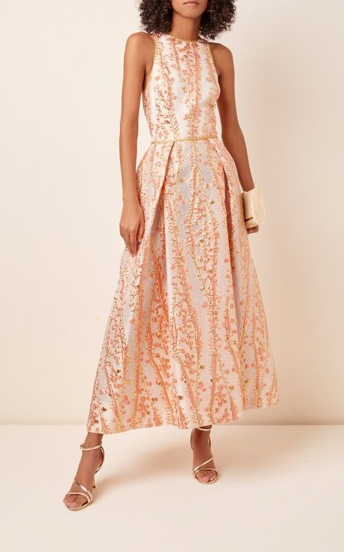 Monique Lhuillier Metallic Jacquard-Knit Tea-Length Dress -   15 dress Coctel monique lhuillier ideas