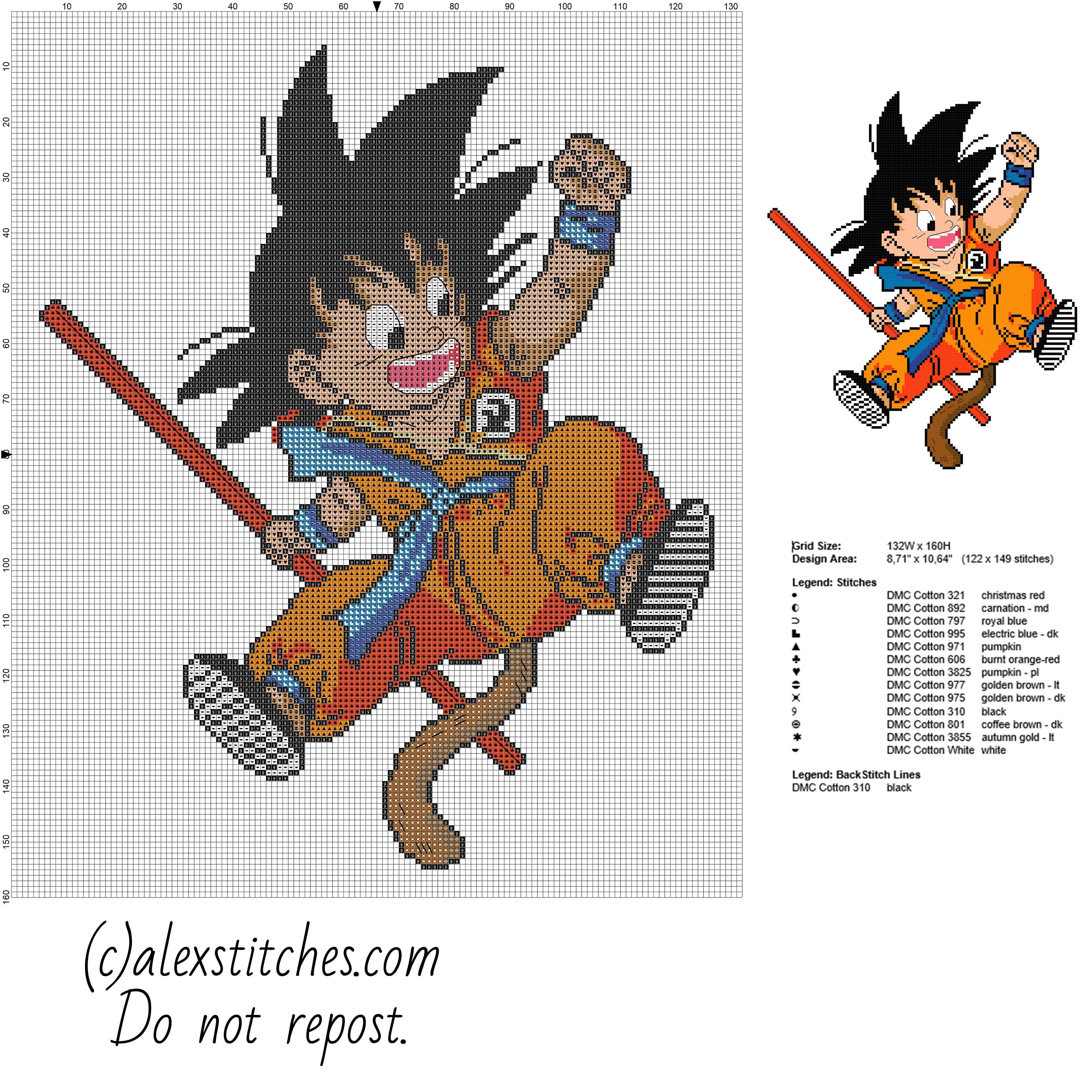 Goku kid Dragon Ball character free cross stitch pattern ...