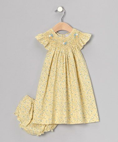 Take a look at this Yellow Floral Smocked Angel-Sleeve Dress - Infant & Toddler by Fantaisie Kids on #zulily today!