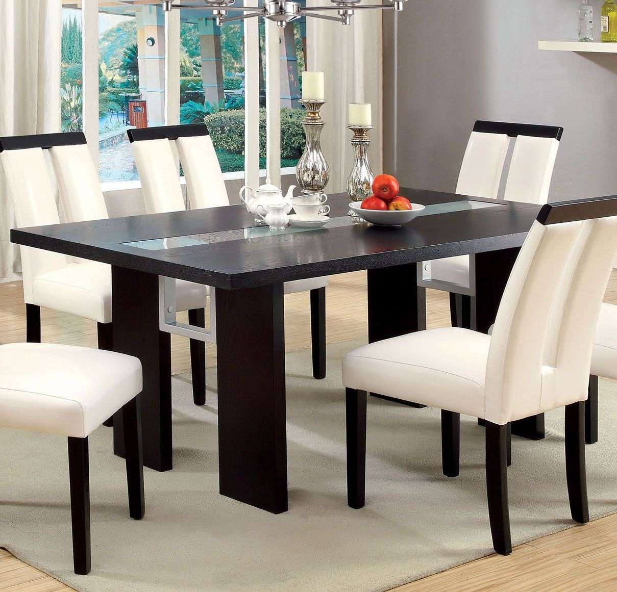 Contemporary Glass Insert Dining Table Black By Casagear Home Glass Dinning Table Dining Table Dining Table Black