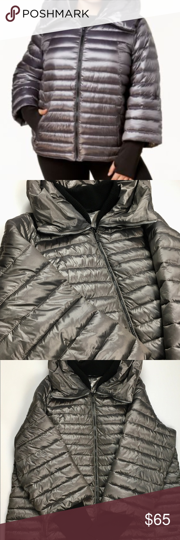 Calvin Klein Performance Puffer Jacket Very Cool Hooded Puffer Coat With Wrist Warmers This Coat Has A High Low Look And Zipper Clothes Design Jackets Calvin [ 1740 x 580 Pixel ]