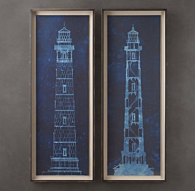 Lighthouse blue prints from restoration hardware blue stuff cape henry lighthouse blueprints from restoration hardware pretty pricey but i love the overall concept of it the blue tones and the neutrals work so malvernweather Images