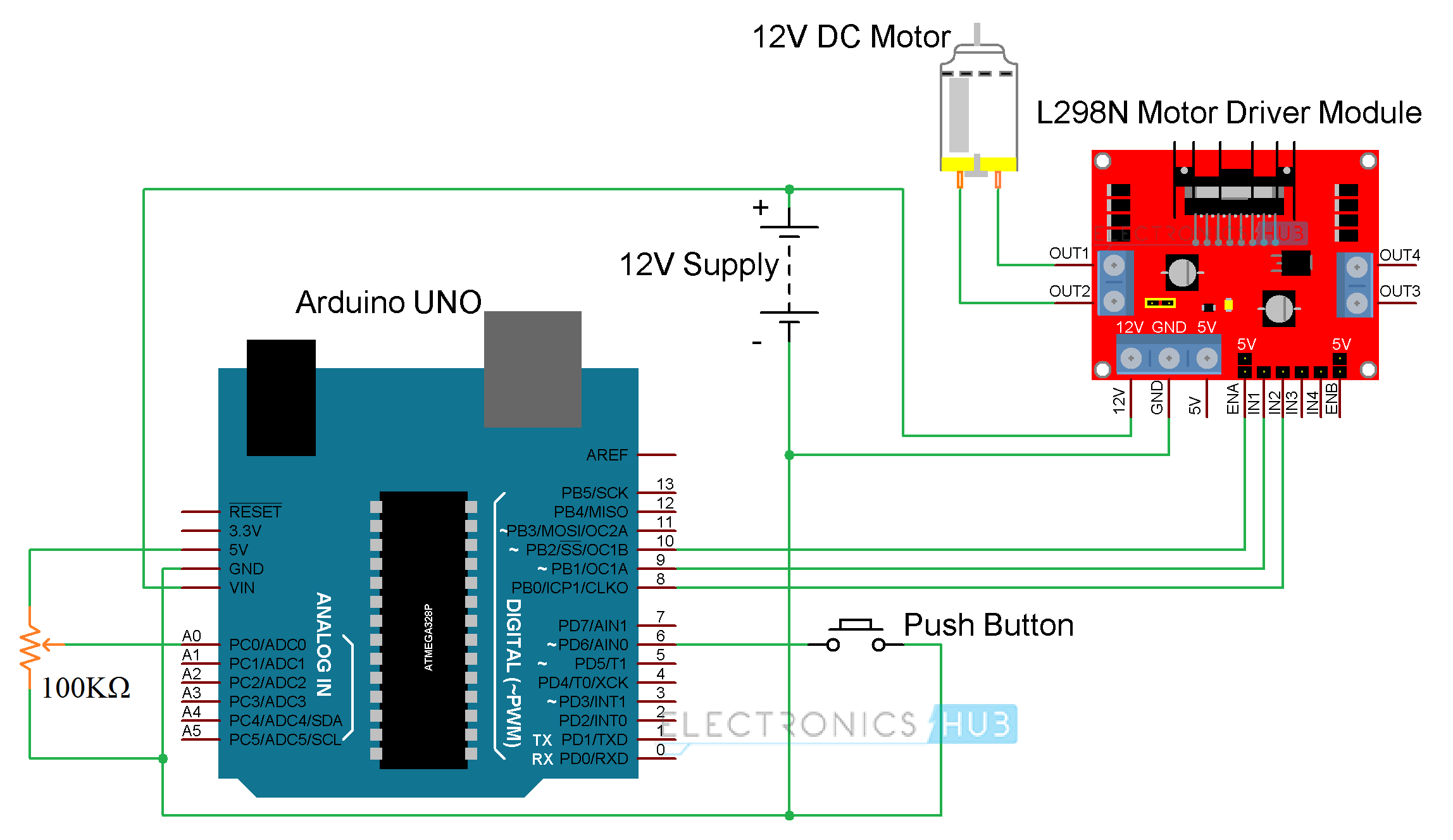 hight resolution of arduino dc motor control using l298n motor driver robots arduino here is the circuit diagram l298 motor driver circuit