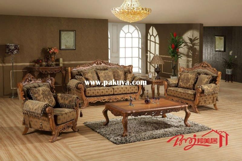 Chinese Timber Frame Architecture Europe Solid Wood Fabric Sofa Set For Living Room M0012