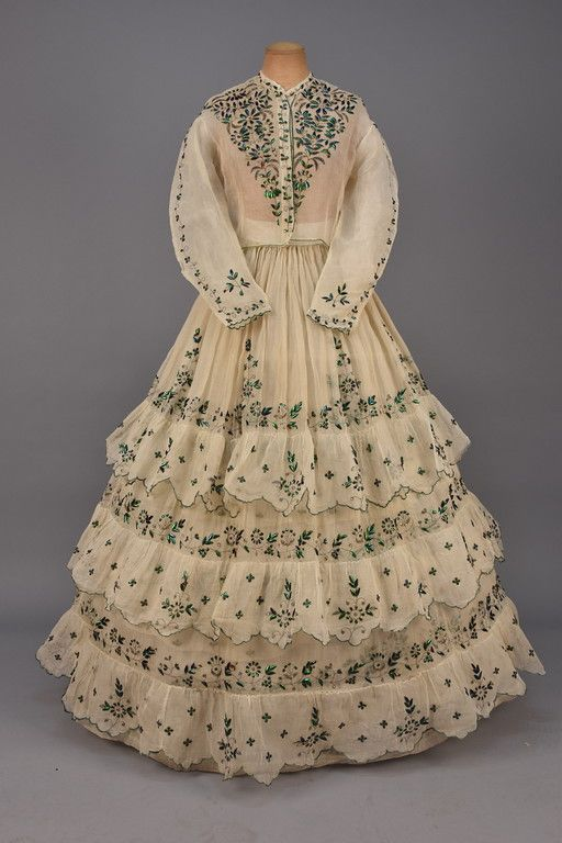 LOT 550 BEETLE WING and METALLIC EMBROIDERED DRESS, 1860s ...