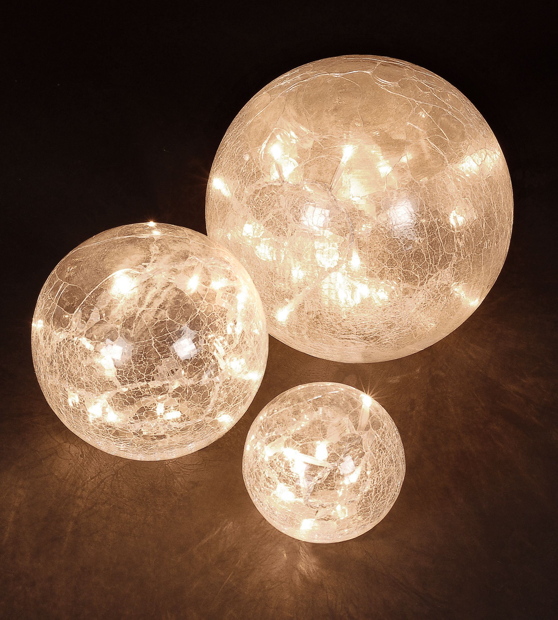 Warm White LED Pre Lit Glass Crackle Balls (Set of 3)