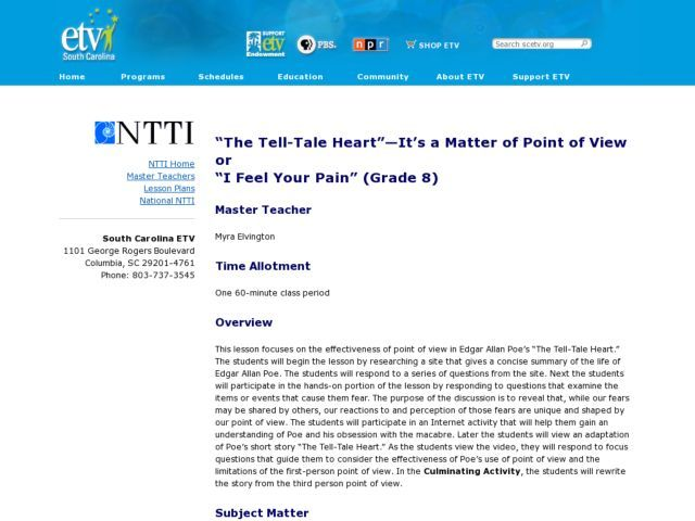 The Tell Tale Heart Its A Matter Of Point Of View Lesson Plan