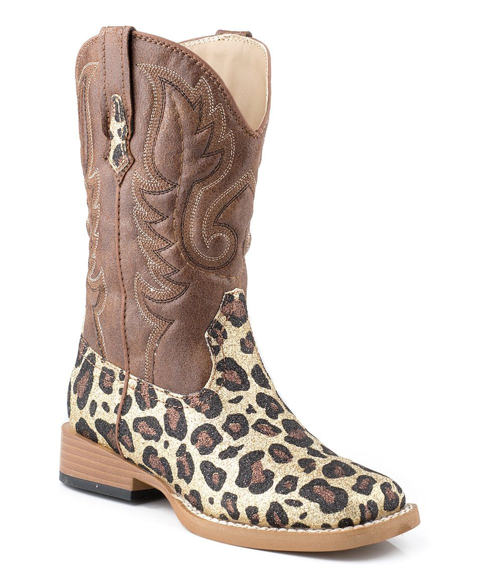 Love this Roper Brown Leopard Square-Toe Glitter Cowboy Boot - Kids by Roper on #zulily! #zulilyfinds