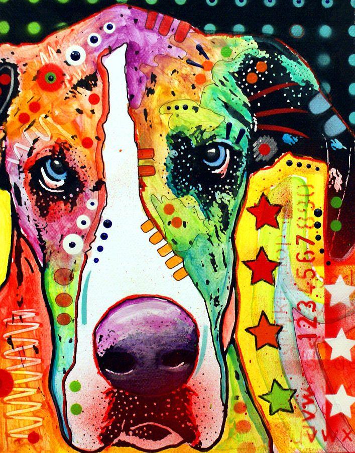 Great Dane Painting Great Dane Fine Art Print Colorful Best Dog