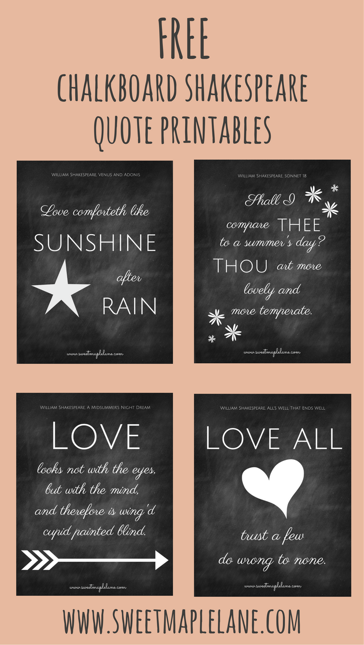 Citaten Shakespeare Gratis : Free chalkboard shakespeare quote printables printables