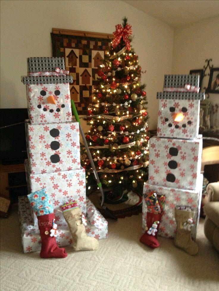 Aprovecha Las Cajas De Los Regalos Que Entregarás Esta Navidad Para Crear Unos Divertidos Muñecos Young Christmas Giftschristmas