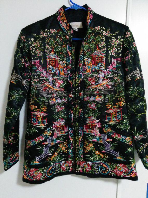 BIG Sale Vintage Chinese silk embroidered black by BerylAntique