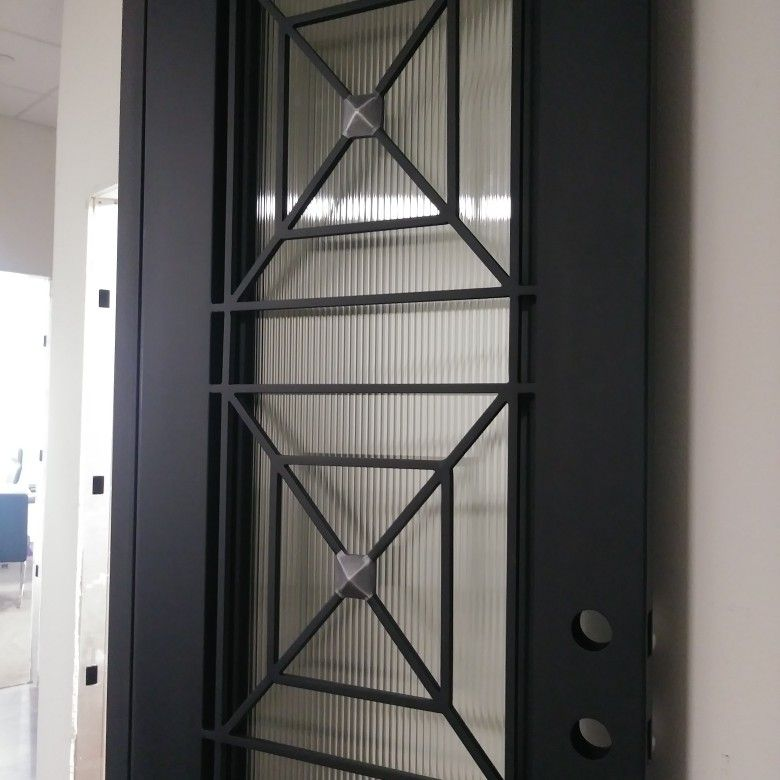 12 Gauge Steel Doors 38x96 Matte Black Reed Glass Dtx Www Wholesaleirondoors Com Steel Doors Matte Black Steel