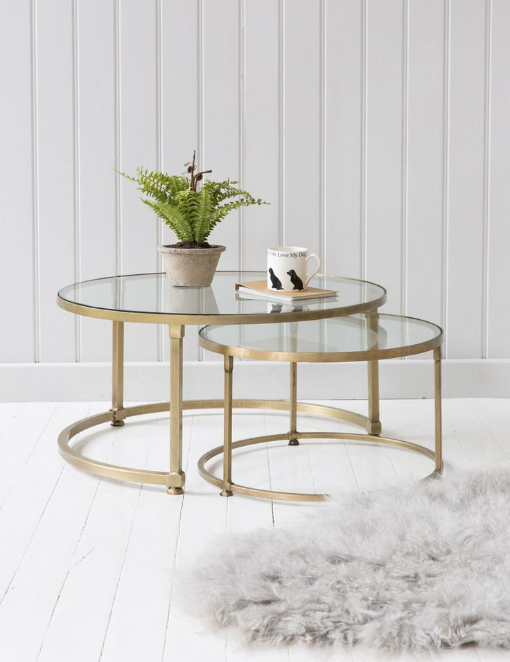 Stacking round glass coffee table set brass and glass for Round stacking coffee table