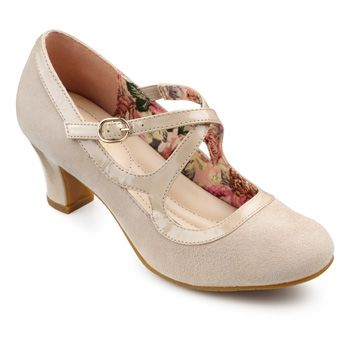 1920s style Gatsby shoes : Florielle Shoes  - Adjustable stretch strap - Light Taupe size 6 $70.00 AT vintagedancer.com