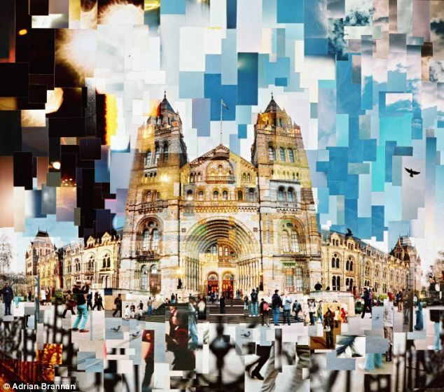 modern collages created using old-fashioned method: Photographs, scissors and sellotape Urban Photography Idea: Photo Collage of the City - natural history museum by Adrian BrannanUrban Photography Idea: Photo Collage of the City - natural history museum by Adrian Brannan