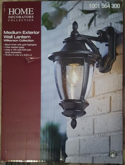 Home Decorators Collection Wilkerson 1 Light Black Outdoor Wall