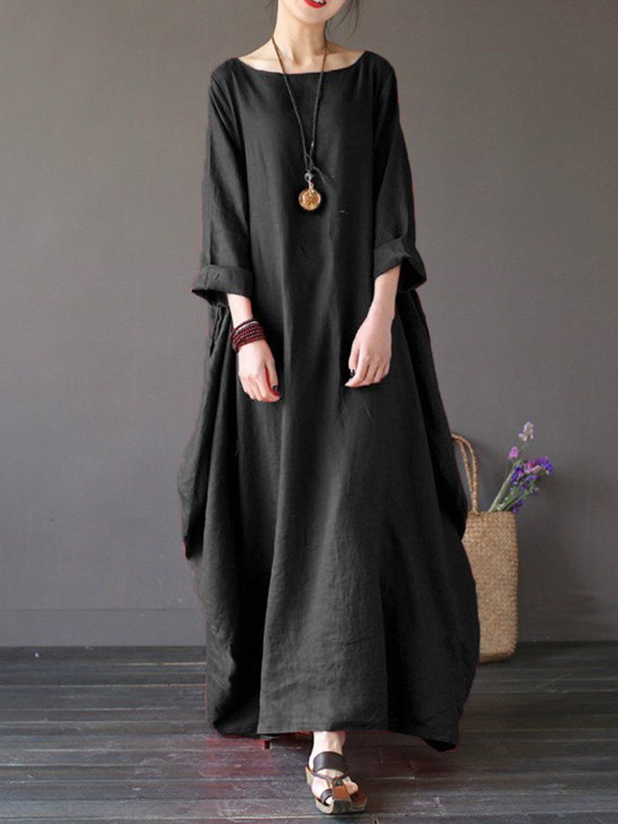 3689d6a90e7 SPECIFICATIONS: Product Name  Round Neck Pocket Plain Maxi Dress Sku   E87F1F794140 Embellishment