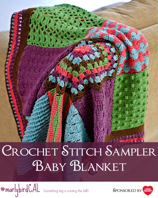 Crochet Stitch Sampler Baby Blanket Crochet-along | Patrones, Puntos ...