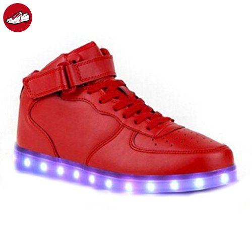 [Present:kleines Handtuch]Rot EU 42, Farbe Aufladen Sport Schuhe 7 Herren Party High-Top für LED USB Glow Leuchtend Rollbrett Sneakers Velcro JUNGLEST® weise Tu